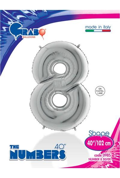 Grabo Rakam Balon Folyo 100 cm Gümüş 8