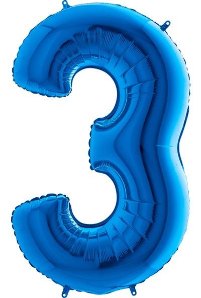 Grabo Rakam Balon Folyo 100 cm Mavi 3