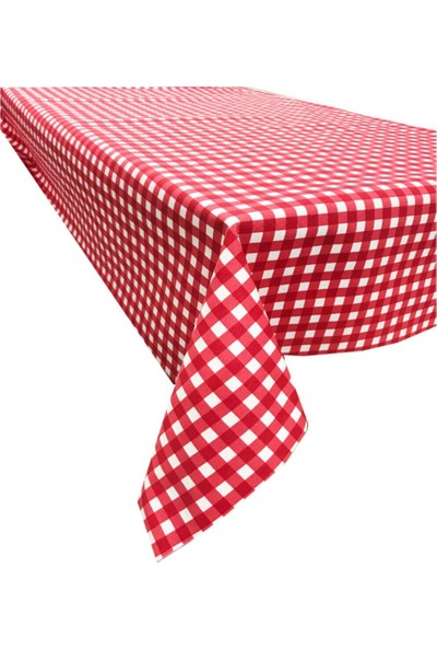 Derinteks Küp Kırmızı Beyaz Renkli Dertsiz Masa Örtüsü 140 x 220 cm & 8 Adet Peçete