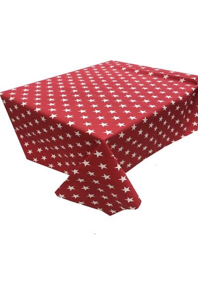 Derinteks Kırmızı Beyaz Yıldızlar Dertsiz Masa Örtüsü 110 x 150 cm