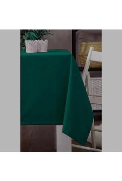 Derinteks Koyu Yeşil Dertsiz Masa Örtüsü 140 x 180 cm & 8 Adet Peçete