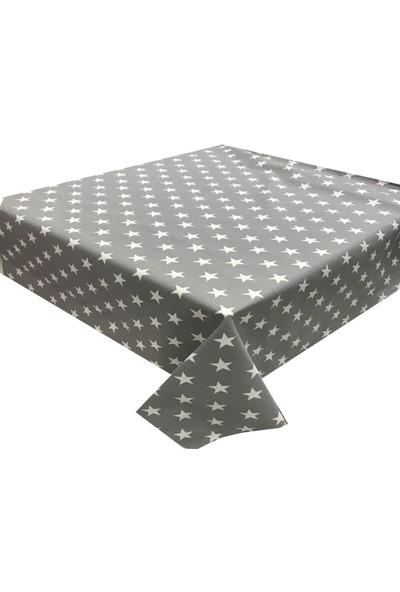 Derinteks Gri Beyaz Yıldızlı Dertsiz Masa Örtüsü 140 x 260 cm & 8 Adet Peçete