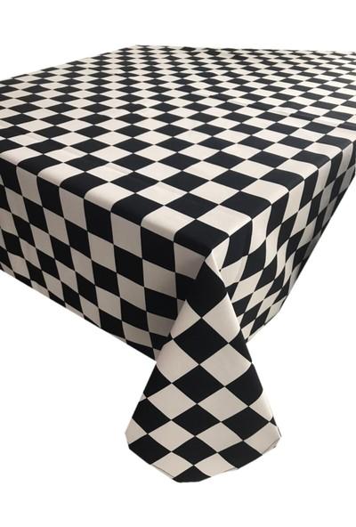 Derinteks Dama Kare Desenli Dertsiz Masa Örtüsü 130 x 170 cm & 6 Adet Siyah Peçete