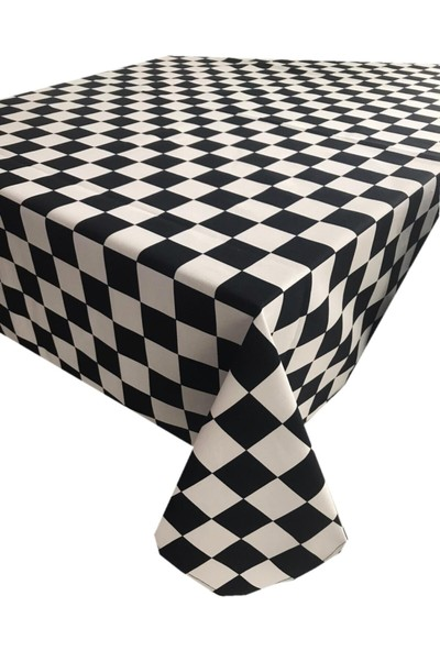 Derinteks Dama Kare Desenli Dertsiz Masa Örtüsü 140 x 180 cm & 8 Adet Siyah Peçete
