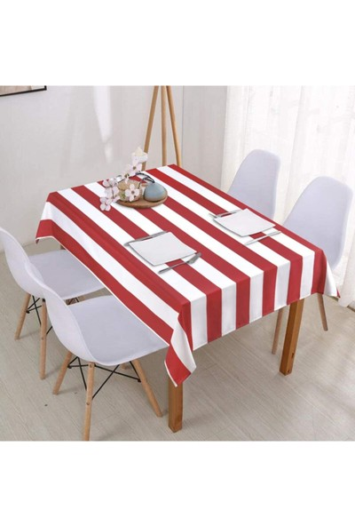 Derinteks Kırmızı Beyaz Çizgili Renk Dertsiz Masa Örtüsü 100 x 100 cm