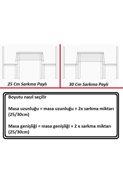 Derinteks Kırmızı Mini Pitikare Desen Dertsiz Masa Örtüsü 130 x 220 cm & 6 Adet Beyaz Peçete