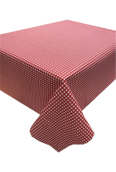 Derinteks Kırmızı Mini Pitikare Desen Dertsiz Masa Örtüsü 140 x 200 cm & 8 Adet Beyaz Peçete