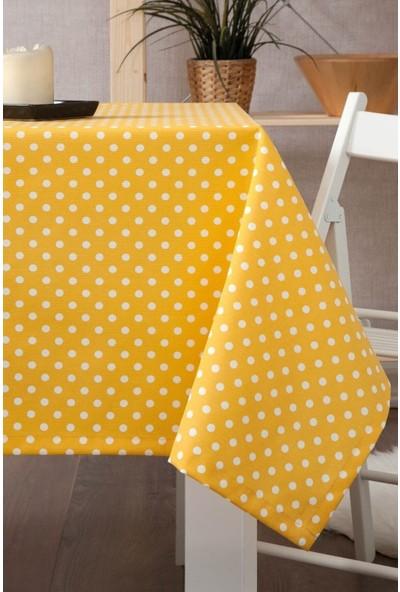 Derinteks Sarı Beyaz Puantiyeli Dertsiz Masa Örtüsü 100 x 140 cm