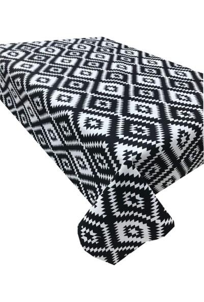 Derinteks Siyah Kilim Desenli Dertsiz Masa Örtüsü 130 x 170 cm & 6 Adet Siyah Peçete