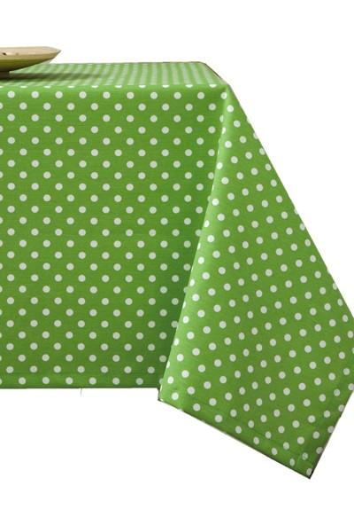 Derinteks Yeşil Beyaz Puantiyeli Dertsiz Masa Örtüsü 140 x 160 cm & 6 Adet Peçete