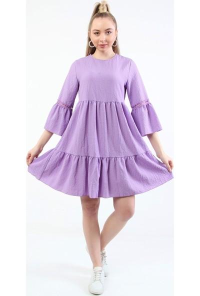 Repp Gofre Dokulu Midi Elbise - Lila