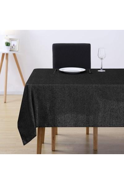 Derinteks Simli Siyah Dertsiz Masa Örtüsü 130 x 200 cm + 6 Adet Peçete