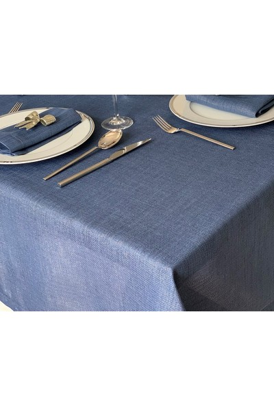 Derinteks Simli Indigo Mavi Dertsiz Masa Örtüsü 150 x 220 cm + 8 Adet Peçete