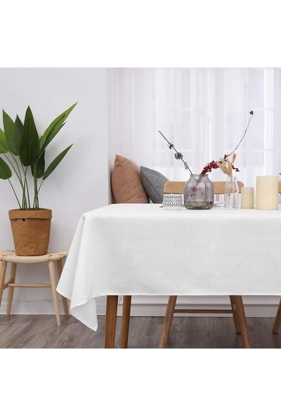 Derinteks Sedefli Simli Beyaz Renk Dertsiz Masa Örtüsü 150 x 250 cm + 8 Adet Peçete