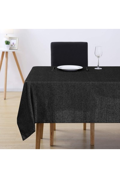 Derinteks Keten Siyah Dertsiz Masa Örtüsü 100 x 150 cm