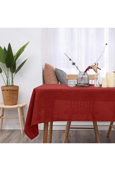 Derinteks Keten Simli Kırmızı Renk Dertsiz Masa Örtüsü 130 x 130 cm