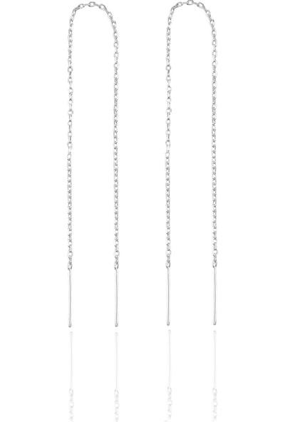 Bigakan Gümüş Zincir Küpe 13 cm Hayalet Zincir Küpe