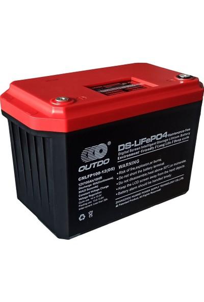 Outdo 12V 100 Ah Lifepo4 Dijital Ekranlı Akıllı Depolama Lityum Akü