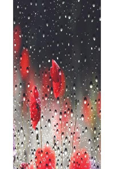 Henge Baskılı Tekli Fon Perde Kırmızı Gelincikler Yağmur Manzaralı