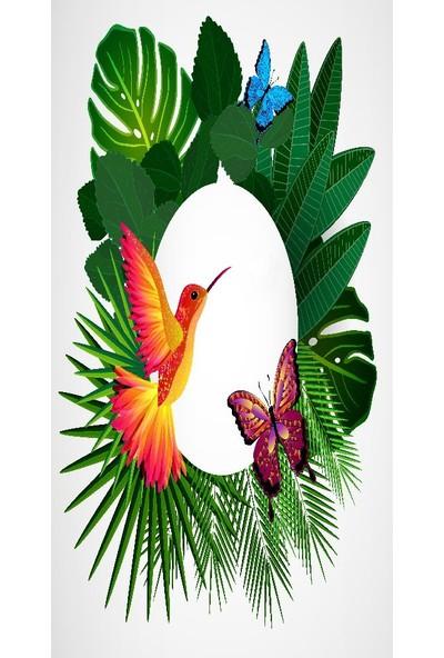 Baskılı Tekli Fon Perde Tropikal Çiçek Kuş Kelebek Desenli