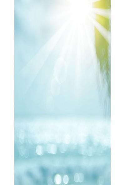 Baskılı Tekli Fon Perde Güneş Deniz Palmiye Desenli Mavi