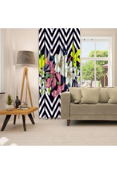 Henge Baskılı Tekli Fon Perde Siyah Beyaz Zigzak Çizgli Tropik Çiçekler Desenli