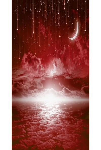 Henge Baskılı Tekli Fon Perde Yıldız ve Ay Bulut Etkili Desenli Kırmızı