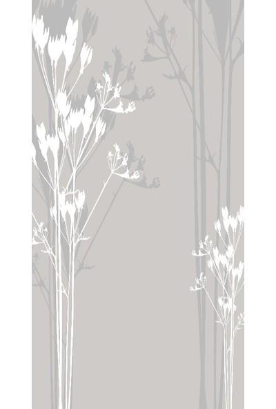 Henge Baskılı Tekli Fon Perde Gri Tonlarda Beyaz Çiçek Desenli