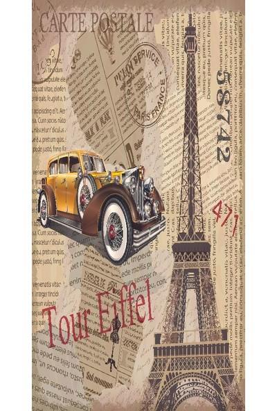 Henge Baskılı Tekli Fon Perde Paris Desenli Sarı Arabalı Retro Eskitme
