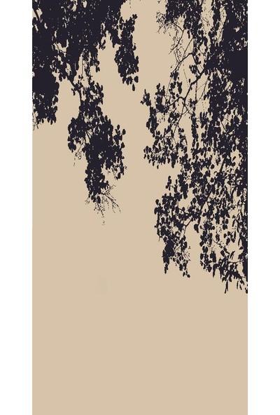 Henge Baskılı Tekli Fon Perde Kavak Ağaç Desenli Siyah Krem Rengi