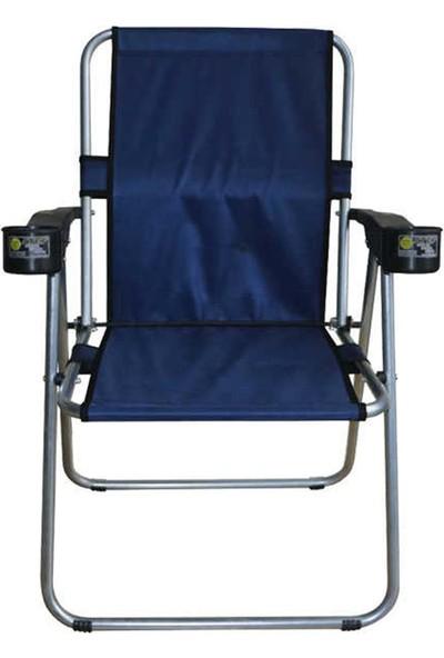 Atef Lüks Bardaklıklı Sandalye Mavi