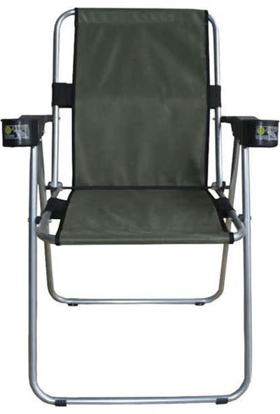 Atef Lüks Bardaklıklı Sandalye Haki