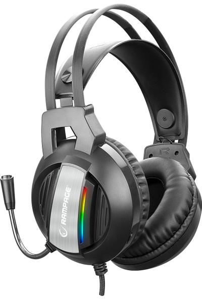 Rampage RM-K71 3,5 mm + USB Rainbow Mikrofonlu Oyuncu Kulaküstü Kulaklık Siyah