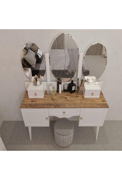 Y&E Albero Inci Country Beyaz Çam Makyaj Masası Şifonyer