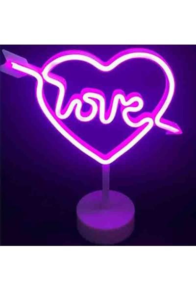 Hediye Panayırı Dekoratif Kalp Şeklinde Love LED Neon Işıklı Gece Lambası