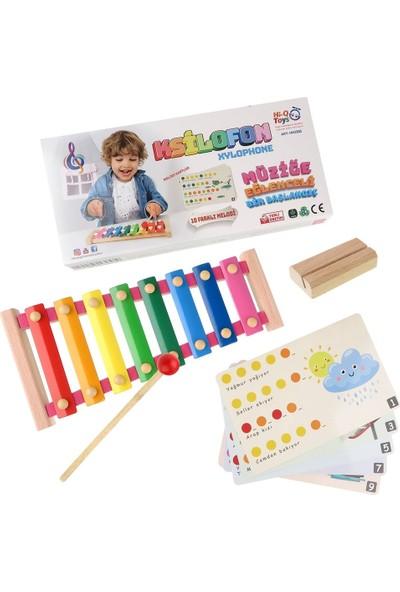 Hi-Q Toys Ahşap Renkli Nota Kartlı 8'li Ksilofon