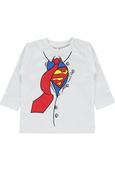 Superman Erkek Bebek Sweatshirt 6-18 Ay Beyaz