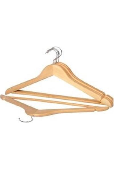 Hepsı 1 Ahşap Ürünleri Ahşap Askı Kıyafet Elbise Gömlek ve Pantolon Askısı 12 Adet