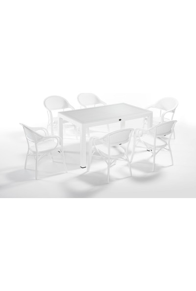Novussi 90 x 150 Camlı Masa Takımı Tropic 6'lı Set Beyaz
