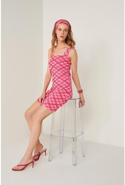 Join Us Neon Askılı Triko Elbise-Pembe