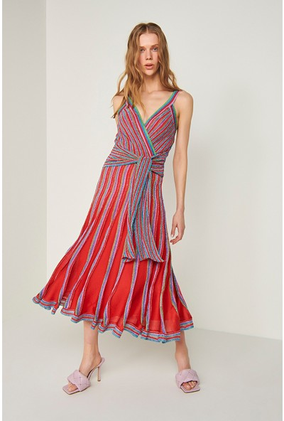Join Us Askılı Beli Bağlama Detaylı Simli Triko Elbise-Multi