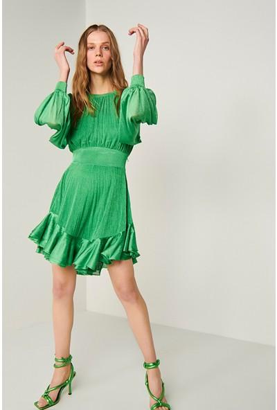 Join Us Balon Kol Volanlı Astarlı Triko Elbise-Yeşil
