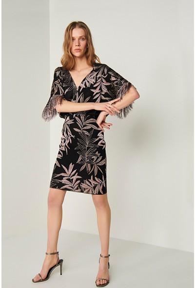 Join Us V Yaka Püsküllü Triko Elbise-Multi