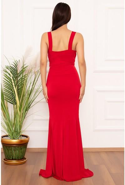 Kalopya Rem V Yaka Yırtmaçlı Uzun Elbise 13321
