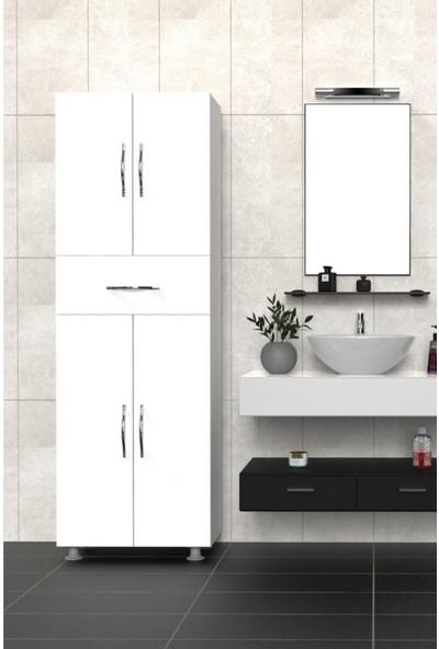 Mimilos D6 4 Kapılı Çekmeceli 4 Raflı Banyo Dolabı Beyaz
