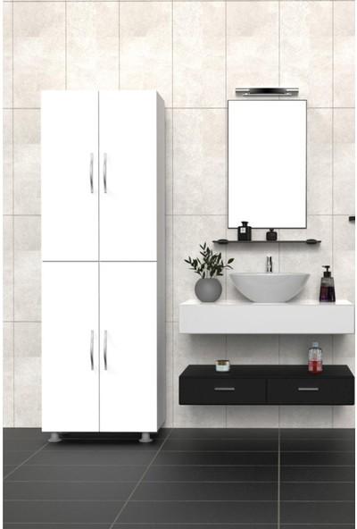 Mimilos D7 4 Kapılı 6 Raflı Banyo Dolabı Beyaz