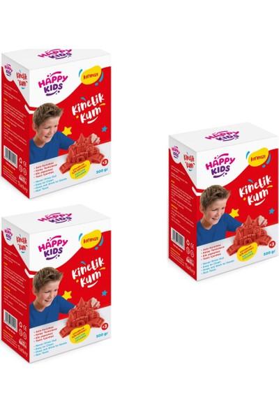 Happy Kids 500GR Kırmızı Kinetik Kum (3ADET) Kutulu Hareketli Oyun Ku