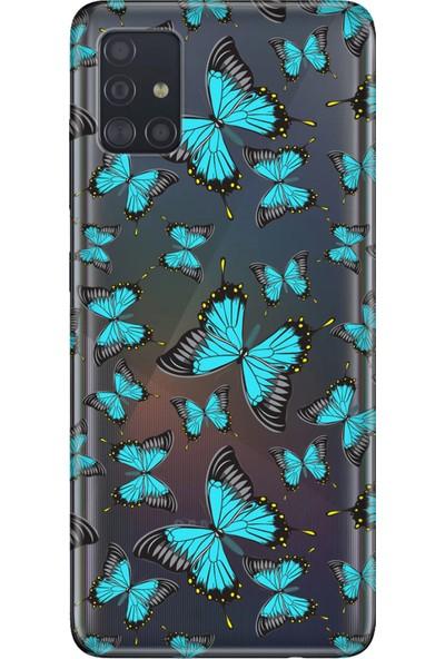 Cekuonline Samsung Galaxy M51 Kılıf Baskılı Desenli Silikon Telefon Kapak - Mavi Kelebek