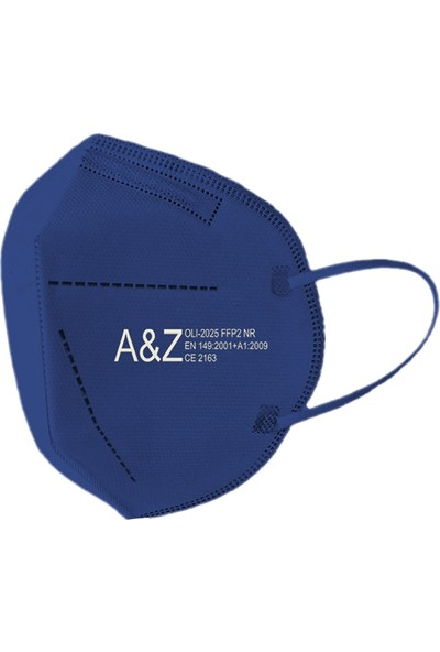 A&z Med N95/FFP2 Maske Telli ve Tek Tek Paketli 10 Adetlik 1 Kutu - Toplam 10 Adet Maske - Lacivert