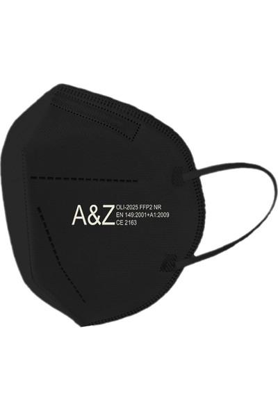 A&z Med N95/FFP2 Maske Telli ve Tek Tek Paketli 10 Adetlik 1 Kutu - Toplam 10 Adet Maske - Siyah